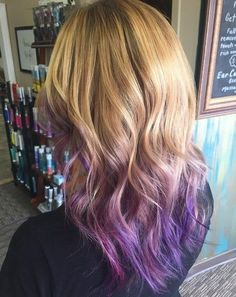 Layered Bronde Waves with Purple Ombre-ed Ends - V Haircut for Long Hair