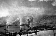 View of Narvik Harbor during a raid by British bombers, april 1940 - pin by Paolo Marzioli Norwegian Army, Heavy Machine Gun, Battlefield 5, Narvik, German Submarines, Research Images, Lappland, No Way Out, Tromso
