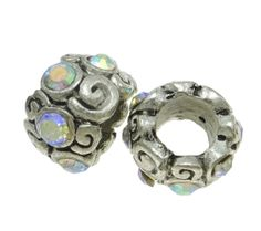 SOLD! _AB Rhinestone Wrapped Swirl Euro Spacers. Starting at $5 on Tophatter.com!