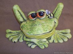 Large Ceramic Outdoor Lawn and Pond Frog by WhiteRiverPottery