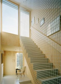 9 Stairwells with Nautical Enclosures and Rails Net railing adds great dimension to the room Tham Videgard Net Stairwell