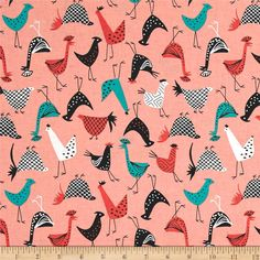 Michael Miller Just Us Chickens Funky Chickens Fancy from @fabricdotcom  From Michael Miller Fabrics, this adorable cotton print collection features retro/mod themes with geometric prints and bright colorways. Perfect for quilting, apparel, and home decor accents. Colors include shades of pink, black, white, and turquoise.