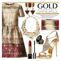 """gold sandals"" by earendil-xx ❤ liked on Polyvore featuring Valentino, Giuseppe Zanotti, Rauwolf, Kothari, Oscar de la Renta, Stephen Webster, Lancôme, Givenchy and Gucci"