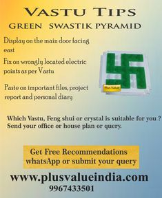 Buy Green Swastik Pyramid Plastic Pair for Vastu correction & Vaastu remedy, products, Vasthu Shastra article Home Office Purchase, Shop, Online in India