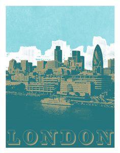 London Skyline Art Print by AnInspiredImage, $19.00