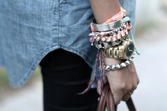 Gold watch with stacked bracelets <3