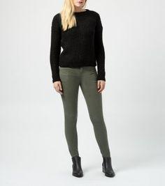 Black Honeycomb Knit Crew Neck Jumper - khaki or grey skinnies and black boots