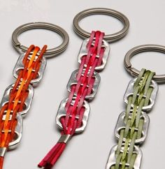 pretty keychains made with pull tabs from pop cans   What if the ribbon colors were the wordless book?