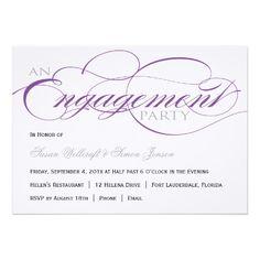Purple Script Engagement Party Invitation