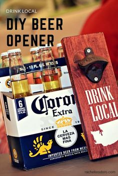 DIY drink local beer opener, a great father's day gift to make! #cricutcreated #cricutmade #beer #drinklocal #giftstogive #giftsforhim #silhouette #silhouettecameo #vinyl #vinylcrafts