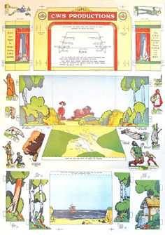 1930's theatre: Includes figures and sets for Robin Hood, Little Red Riding Hood, Robinson Crusoe, and Jack the Giant Killer.