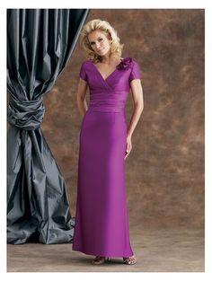 Sheath V-Neck Empire Waist Pleated Long Taffeta Tank Purple Mother of The Bride Dresses
