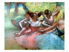 Edgar Degas. Four Ballerinas on the Stage. From All Posters.