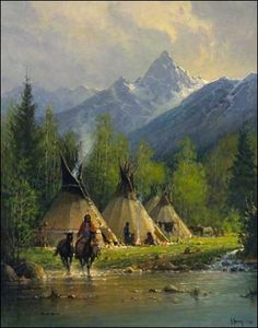 Teepees by water | G Harvey