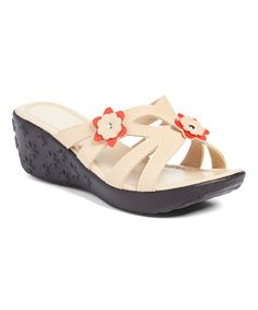 Camel Wendy Floral-Accent Wedge Sandal