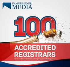 Famous Four Signs Its 100th Registrar & Now Covers 90% Of All Currently Regsitered Domains http://bit.ly/1myNQYv  pic.twitter.com/NtoBLirpgF
