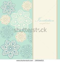 Wedding birthday card or invitation with abstract lace floral background, greeting postcard, vector illustration