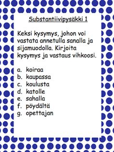 Sanaluokat: substantiiveja ja sijamuotoja Special Needs Teaching, Finnish Language, Teaching Aids, A Classroom, School Fun, Special Education, Finland, Literacy, Literature