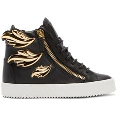 Giuseppe Zanotti Black Leather Leaf High-Top London Sneakers ($1,045) ❤ liked on Polyvore featuring shoes, sneakers, giuseppe zanotti sneakers, leather high tops, black leather sneakers, high top shoes and lace up sneakers