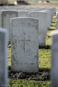 One of the thousands of graves of British and Commonwealth soldiers at the Tyne Cot cemetary in Belgium.