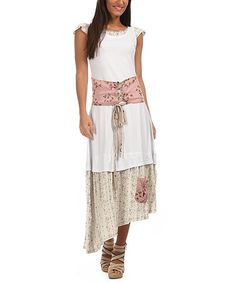 Loving this White & Light Pink Lace-Up Band Maxi Dress on #zulily! #zulilyfinds