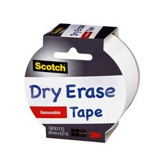 "Scotch Dry EraseTape, 1.88"" x 5 yd, White:      Just cut, peel and stick     Write-on with a standard dry erase marker     Erase with a tissue, cloth or dry eraser     Great for crafting, decorating and labeling"
