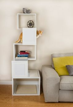 Treat your beloved cats to a premium indoor playground with this stationary cat tree, featuring a reliable medium-density fiberboard structure to ensure great resistance to wear, impact and scratching