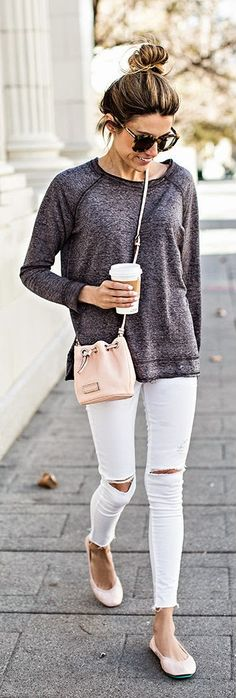 Hello Fashion - White Denim, Grey Raglan Tee, Blush Ballet Flats, Blush Mini Bucket, Silver Boyfriend Watch and Ponytails.