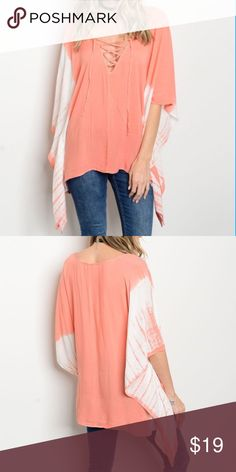 Boho Blush Tie Dye Laceup Poncho Style Tunic S M L Perfect for Spring!  Blush tie dye kimono poncho style tunic top, Laceup neckline, 100% Rayon Available in size Small, Medium, or Large. No trades, price firm unless bundled.  BUNDLE 3 OR MORE ITEMS FOR 15% OFF!!! Boutique Tops Tunics