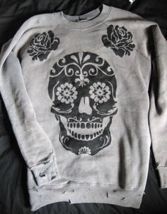 Skull Sweatshirt. DIY fun!! Would like to try this with Madi. Might be fun!!