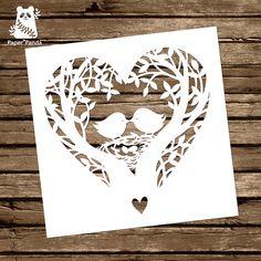 PAPER PANDA Papercut DIY Design Template 'Love Nest'