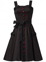 HELL BUNNY Gery black/red 50s Rockabilly Dress