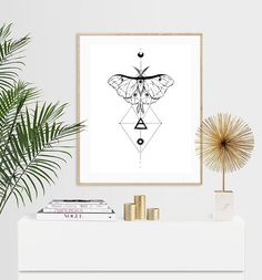 Luna Moth with Geometric Pattern Luxury Pen & Ink Illustration Print - or Luxury Pens, Moth Tattoo, Ink Illustrations, I Shop, Trending Outfits, A5, Tattoos, Unique Jewelry, Handmade Gifts