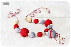 Wooden Nursing/Teething Necklace - Eco Grey & Red