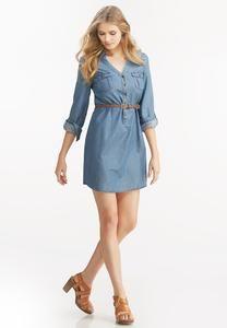 Belted Chambray Shirt Dress-Plus