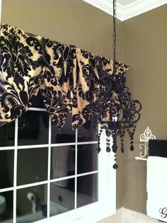 Window valance made from pillow shams diy Black and Tan damask master bathroom window treatments