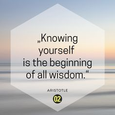 To be wise, you have to know yourself first!  Quote by Aristotle.