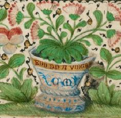 Plant pot detail from folio 1v, Margaret of York. Nicolas Finet, Dialogue de la duchesse de Bourgogne a Jesus Christ Netherlands, S. (Brussels); Between 1468 and 1477. British Library