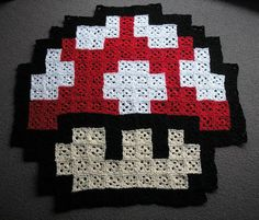 Omg yes! Granny square pixelated Mario mushroom! ( add more squares and a border around to make a blanket).