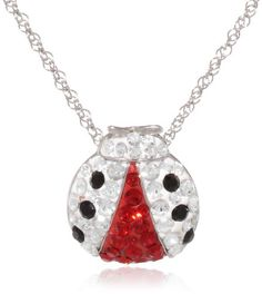 """Sterling Silver Red and Black and Clear Crystal Ladybug Pendant Necklace, 18"""" Amazon Curated Collection http://www.amazon.com/dp/B00C7QEQ7S/ref=cm_sw_r_pi_dp_SbSRub021XH09"""