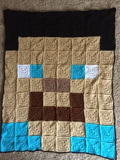 A Hook in Time: Steve Minecraft-inspired Blanket - free crochet pattern.