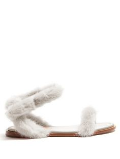 Valentino Fur-trimmed sandals
