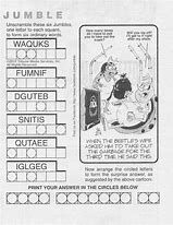 For over 30 years I have been solving the Jumble Puzzle in our local newspaper. At first I could unscramble the words, but the cartoon puzzle was my bug-a-boo. Now I am getting pretty good at solving both. Jumble Word Puzzle, Jumbled Words Game, Daily Jumble, Printable Crossword Puzzles, Free Printable, Printable Templates, Printables, Cartoon Puzzle