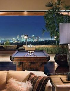 bachelor Pad / Masculine Interior Design & Decor / Pool Table / View