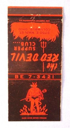 MATCHBOOK - THE RED DEVIL SUPPER CLUB- COLUMBUS OHIO- OLD STYLE PHONE - UNSTRUCK | Collectibles, Paper, Matchbooks | eBay!