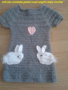 DIY.Tutorial crochet bunny dress rochita crosetata cu iepurasi