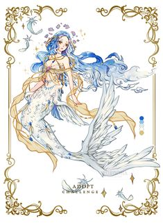 Adoptables by Rurucha on DeviantArt Fantasy Character Design, Character Design Inspiration, Character Art, Anime Mermaid, Mermaid Art, Mermaid Drawings, Art Drawings, Pretty Art, Cute Art