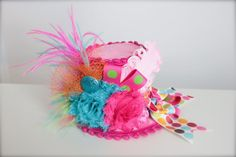 Perfect hat for a circus theme Over the Top Circus Clown Inspired Pink Orange by LilBirdsCouture