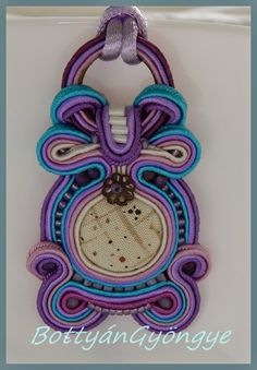 Lila - türkiz sujtás nyaklánc / medál / Purple - Turquoise soutache necklace / pendant