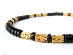 Tribal necklace for men handmade from patterned wood and coconut shell by AuthenticMen,